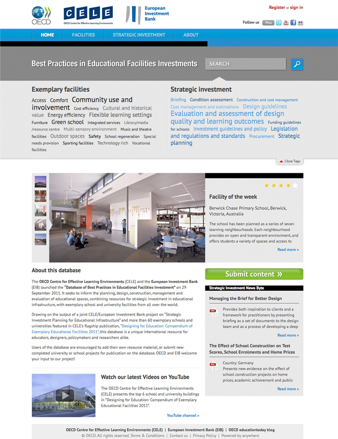 OECD CELE – EIB Database – Best Practices in Educational Facilities investment. Click here…