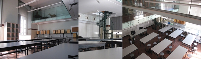 Left and right an remodeled classroom with (centre) spiral stair linking a mezzanine